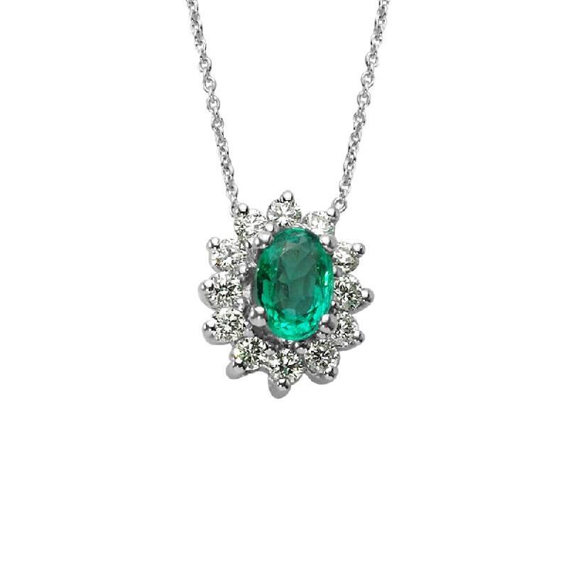 0.31 Carat Emerald Diamond Necklace