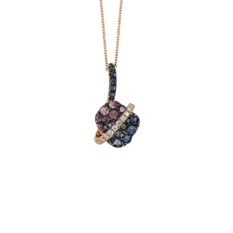 0.07 Carat Collier Diamant Saphir & Améthyste