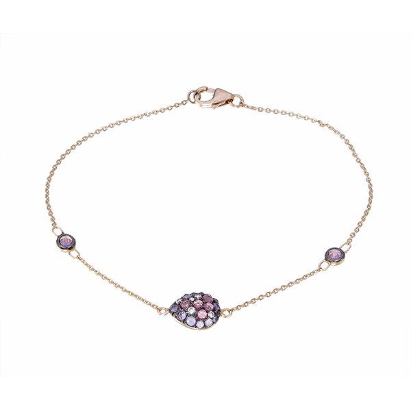 0.05 Carat Bracelet Diamant Améthyste & Rubis