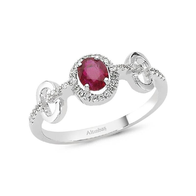 0.10 Carat Ruby Diamond Ring