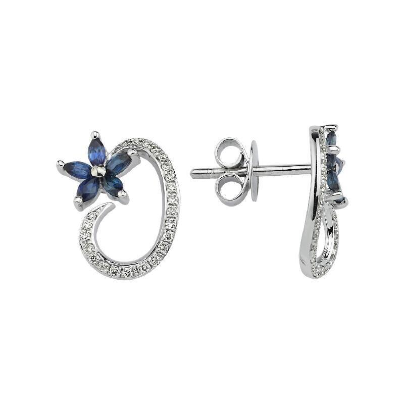0.17 Carat Boucles d'Oreilles Diamant Saphir