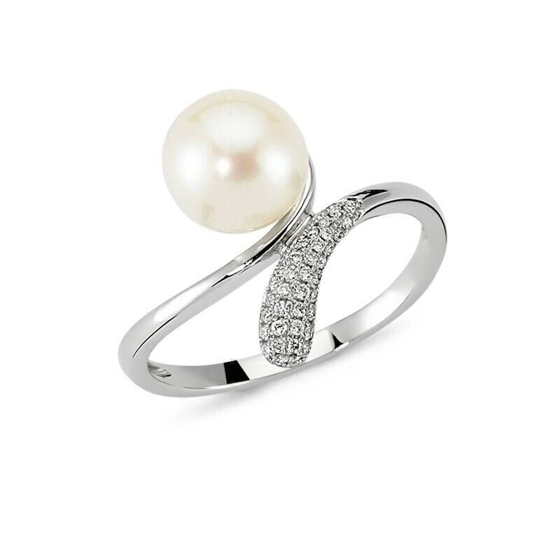 0.09 Carat Bague Diamant Perle