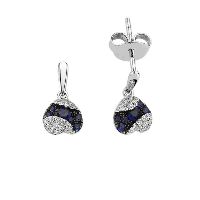 0.10 Carat Sapphire Diamond Earrings