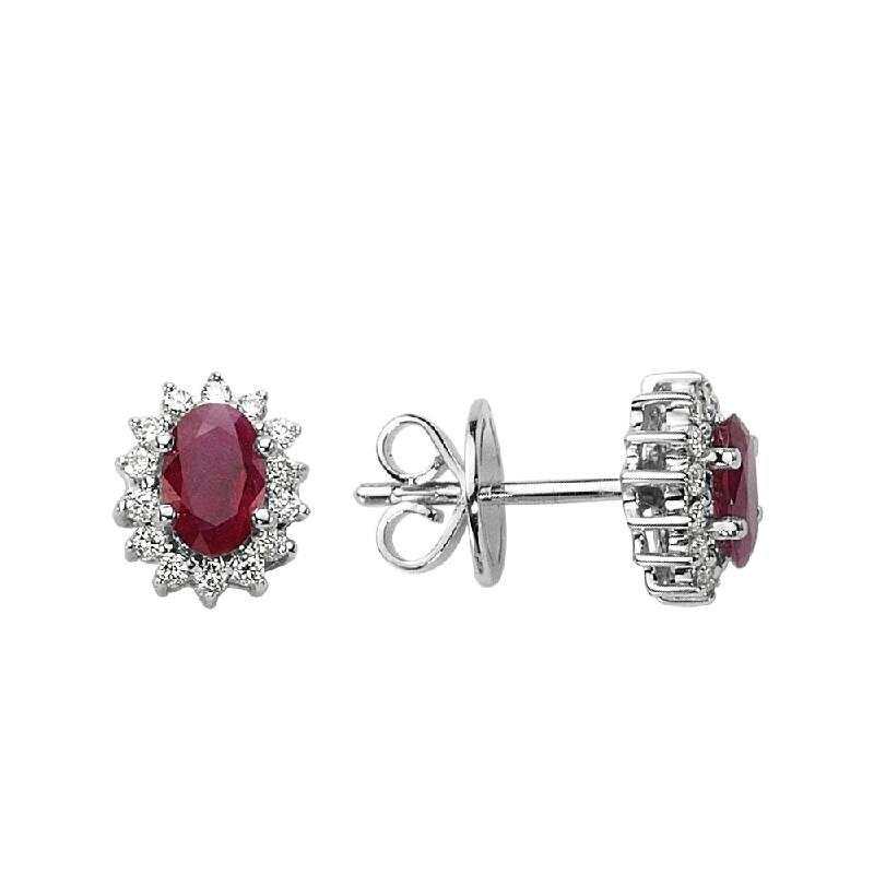 0.20 Carat Ruby Diamond Earrings