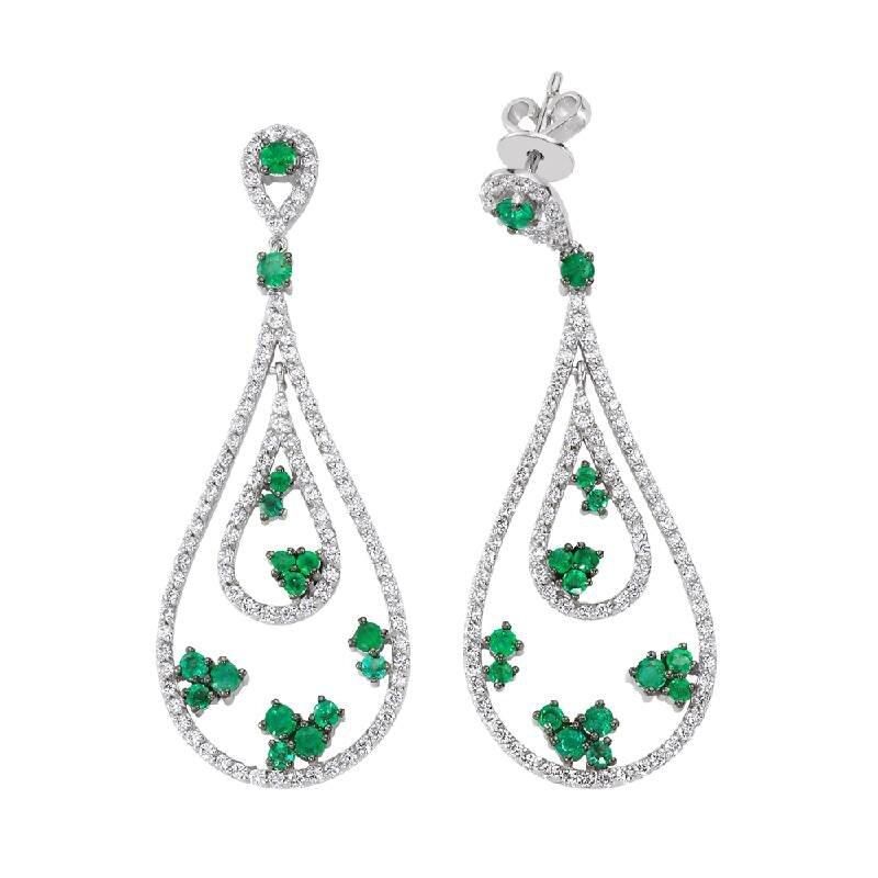 1.20 Carat Emerald Diamond Earrings
