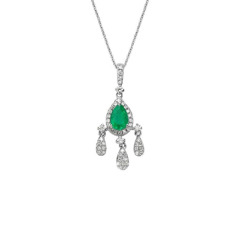 0.26 Carat Emerald Diamond Necklace