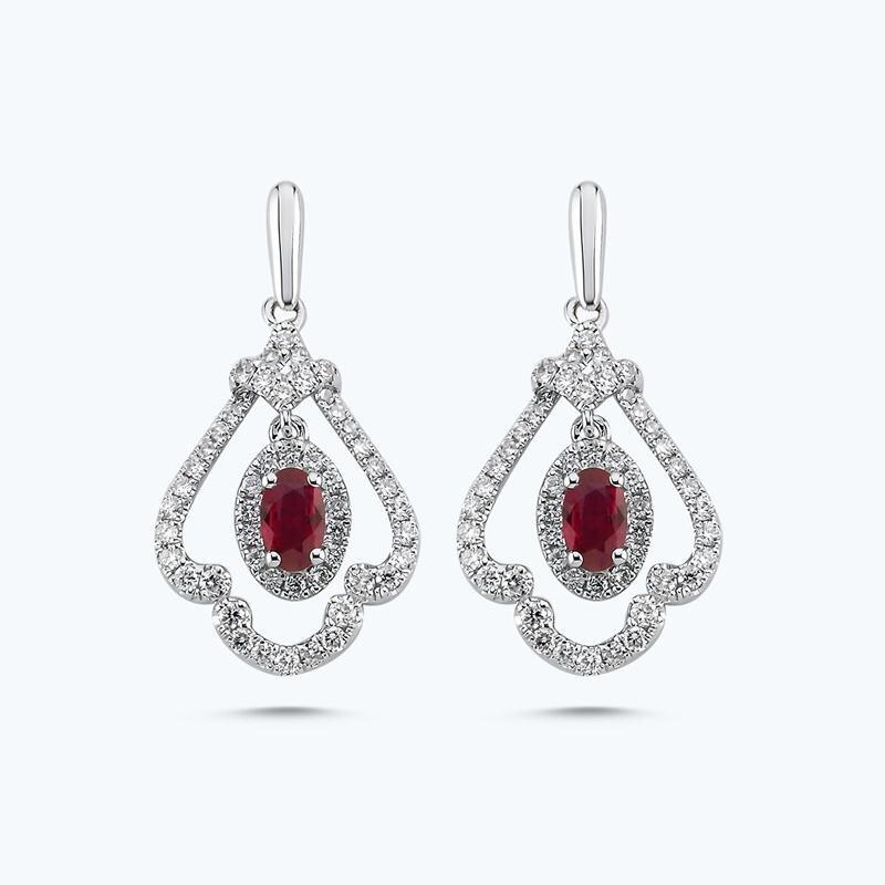0.57 Carat Boucles d'Oreilles Diamant Rubis