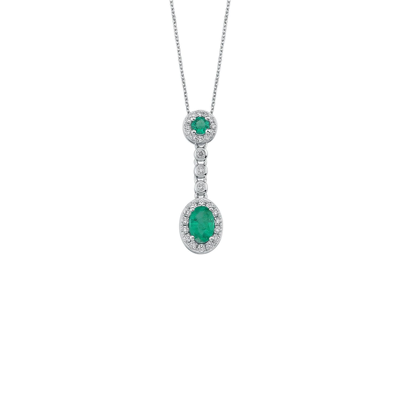0.22 Carat Emerald Diamond Necklace