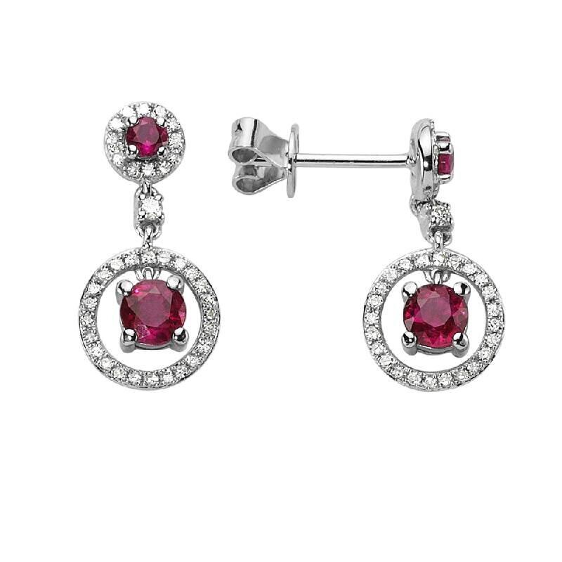 0.26 Carat Ruby Diamond Earrings