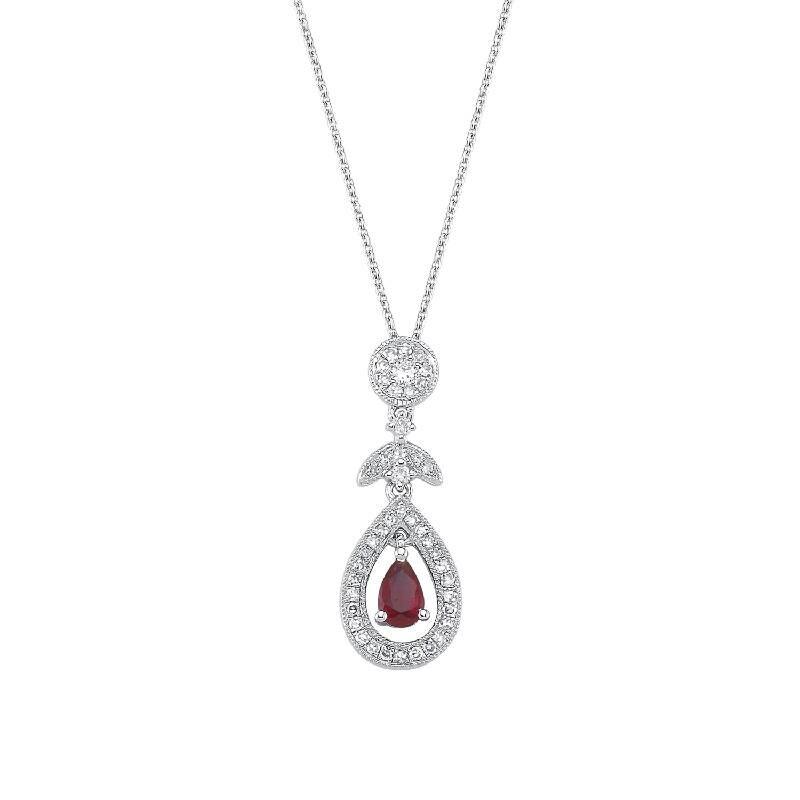 0.17 Carat Ruby Diamond Necklace