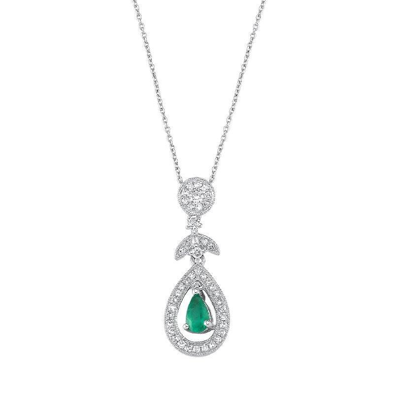 0.17 Carat Emerald Diamond Necklace