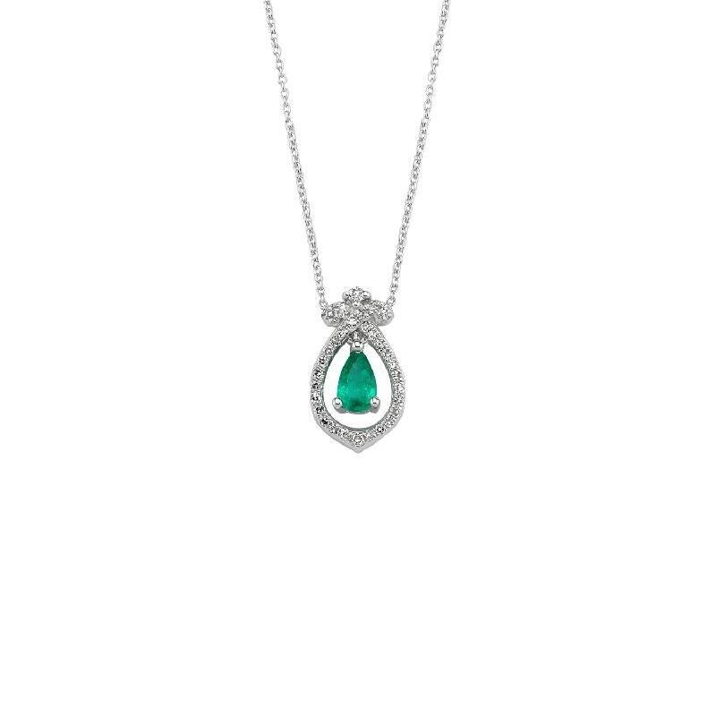 0.08 Carat Collier Diamant Émeraude