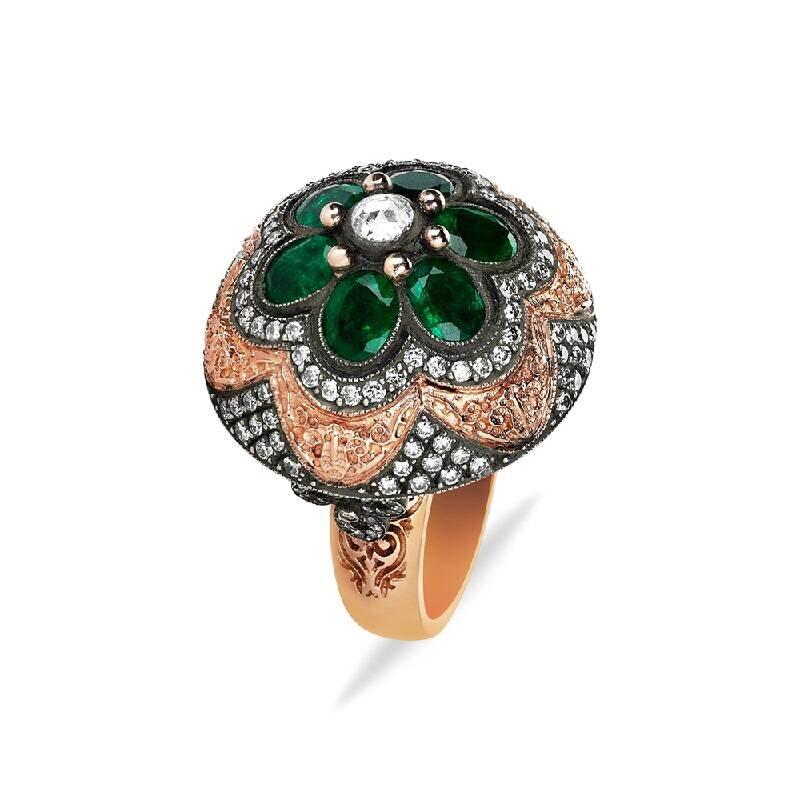 0.54 Carat Emerald Diamond Ring