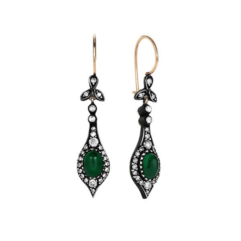 0.85 Carat Emerald Diamond Earrings