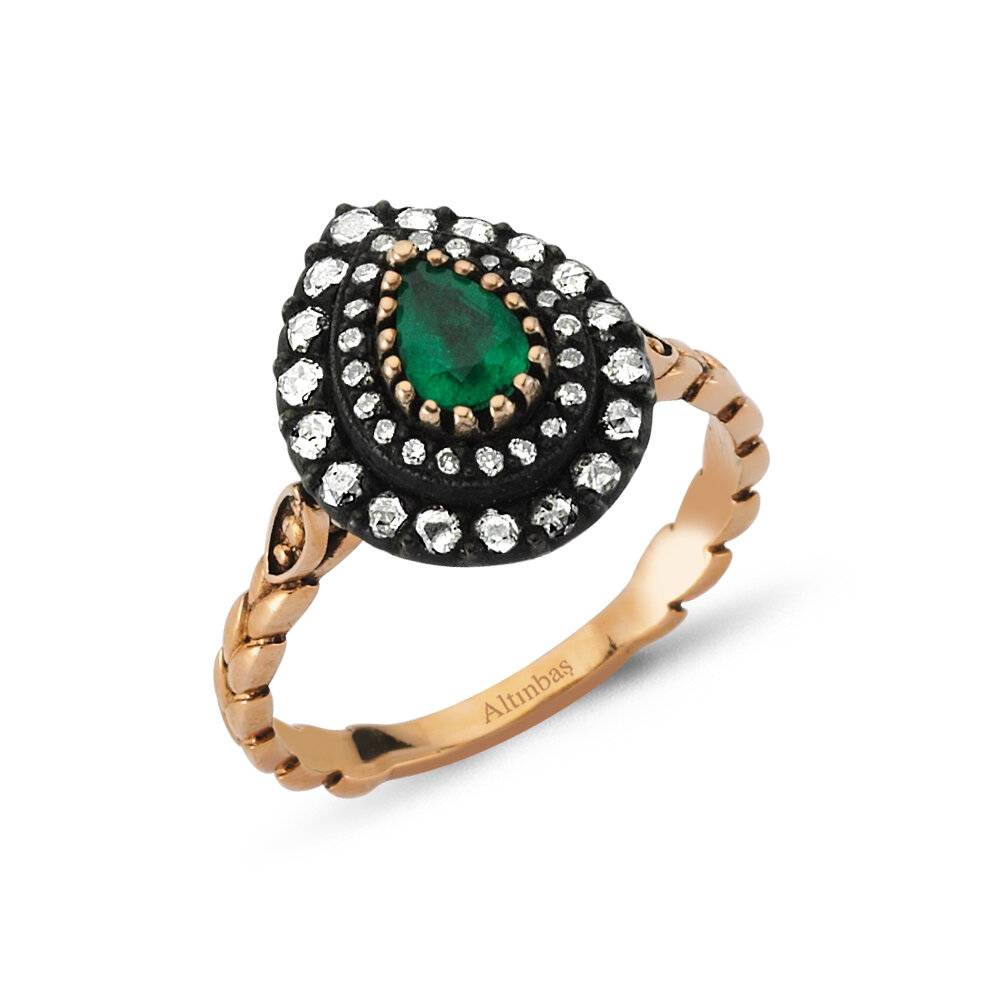 0.38 Carat Emerald Diamond Ring