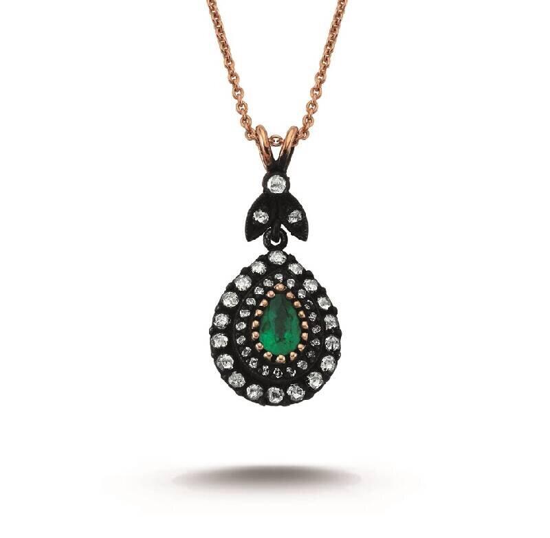 0.42 Carat Emerald Diamond Necklace