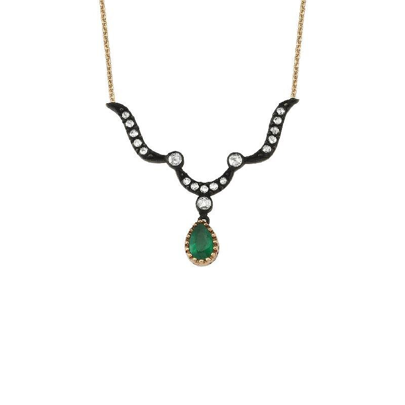 0.21 Carat Emerald Diamond Necklace