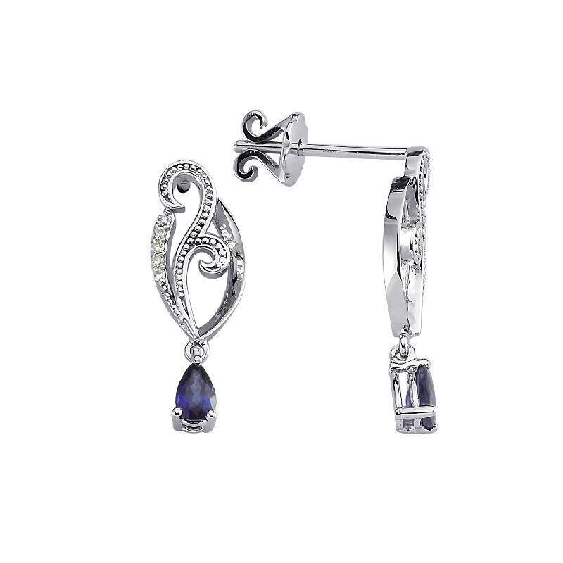 0.05 Carat Sapphire Diamond Earrings