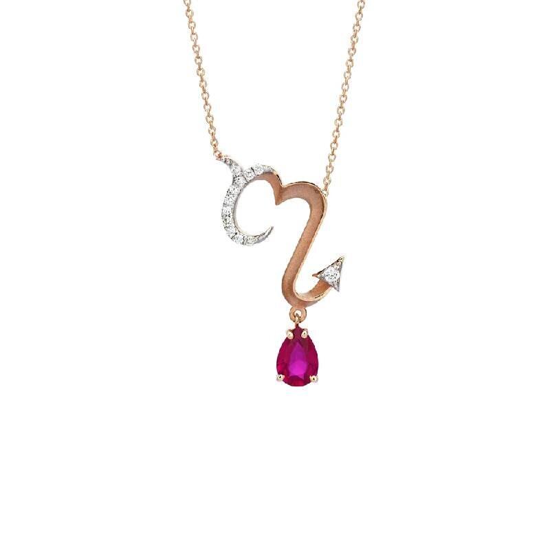 0.07 Carat Ruby Diamond Necklace