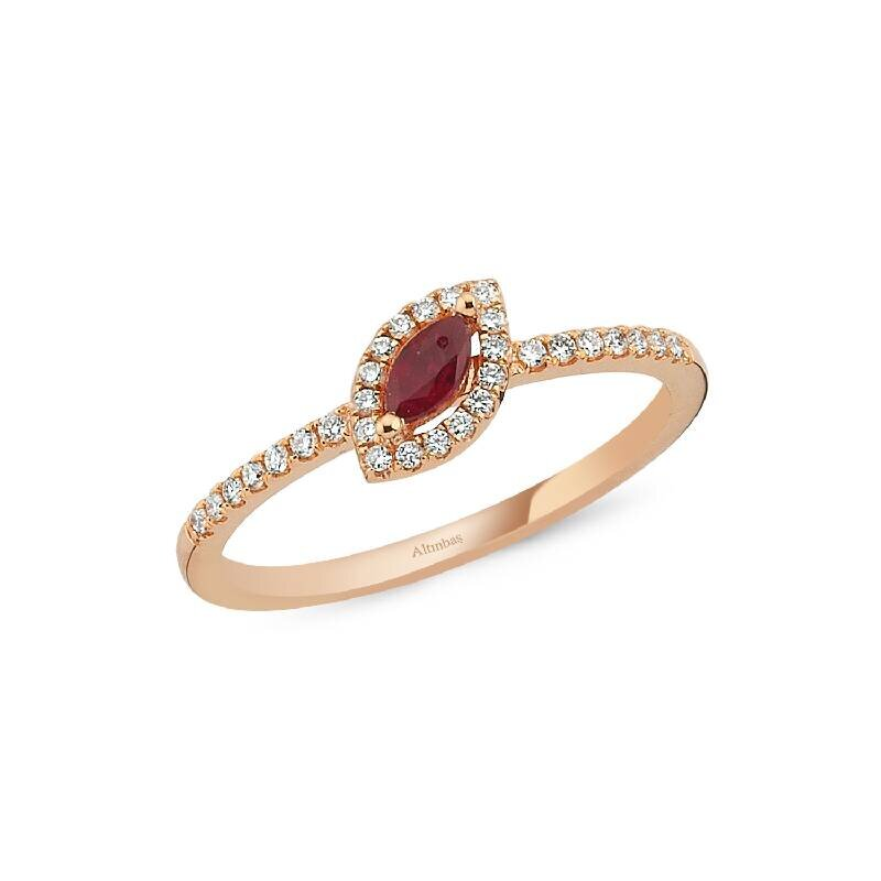 0.14 Carat Ruby Diamond Ring
