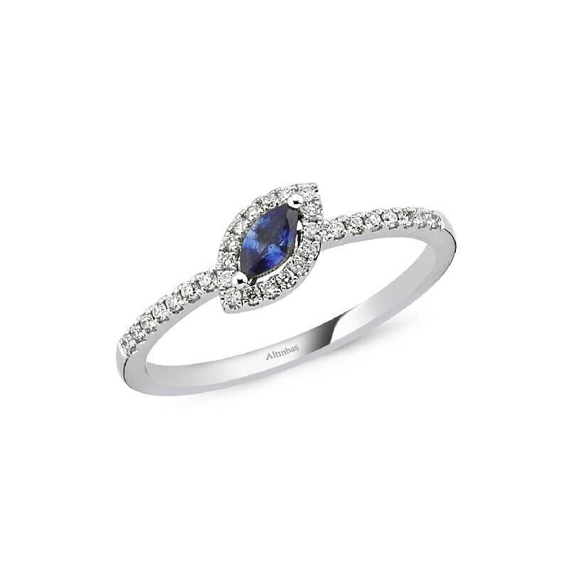 0.14 Carat Sapphire Diamond Ring