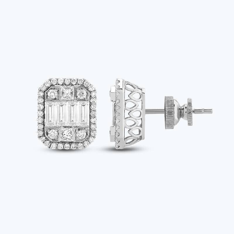 1.30 Carat Baguette Diamond Earrings