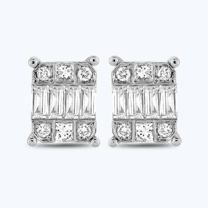 0.26 Carat Baguette Diamond Earrings