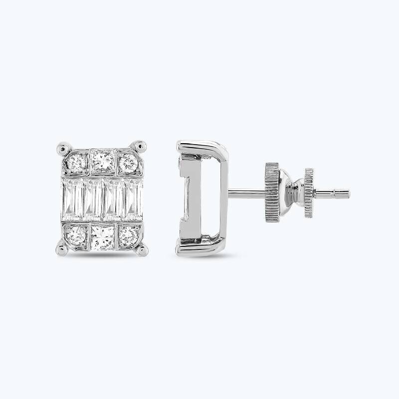 1.06 Carat Baguette Diamond Earrings