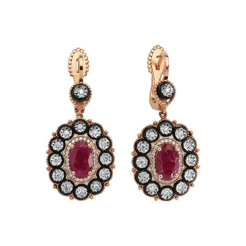 0.59 Carat Boucles d'Oreilles Diamant Rubis