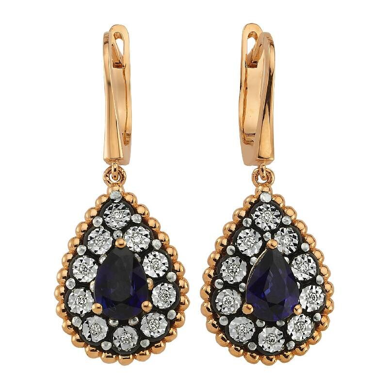 0.09 Carat Sapphire Diamond Earrings