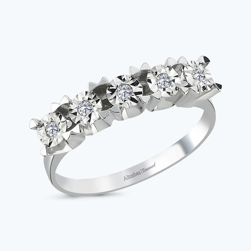 0.09 Carat Five Stone Diamond Ring