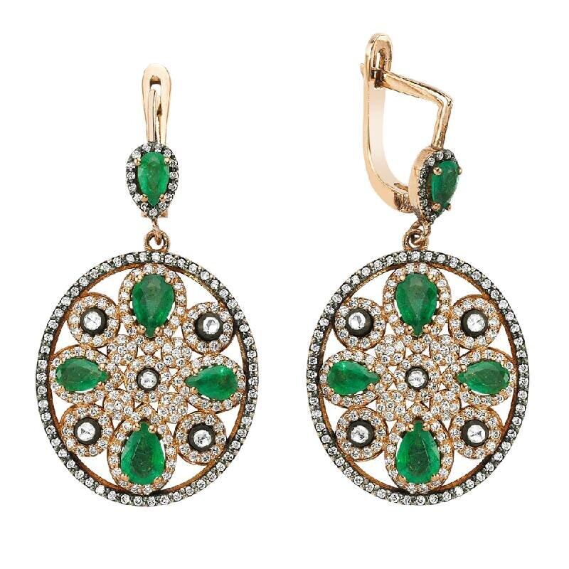 1.68 Carat Emerald Diamond Earrings