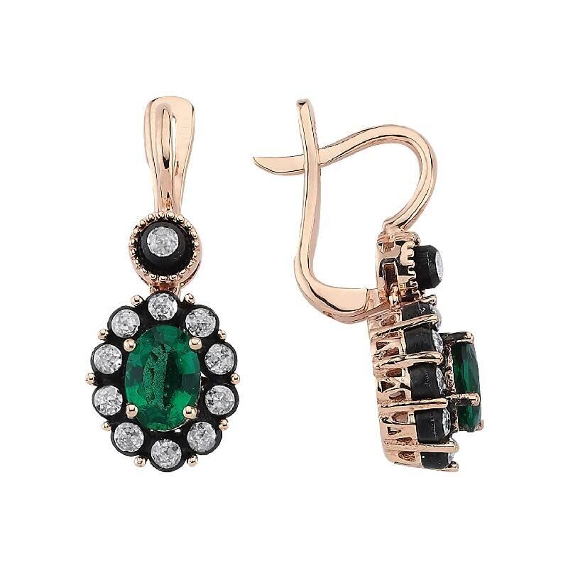 0.42 Carat Emerald Diamond Earrings