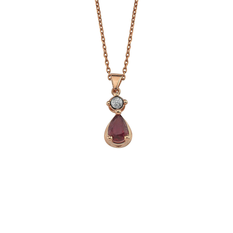 0.02 Carat Ruby Diamond Necklace
