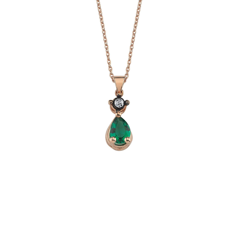 0.02 Carat Emerald Diamond Necklace