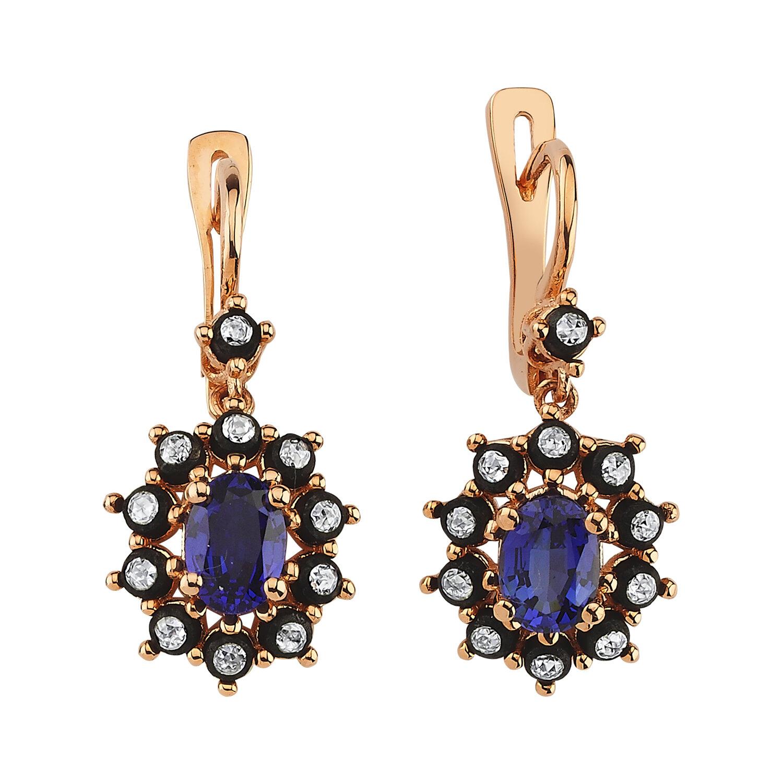0.35 Carat Sapphire Diamond Earrings