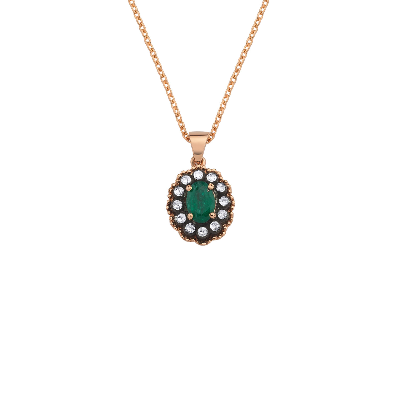 0.14 Carat Emerald Diamond Necklace