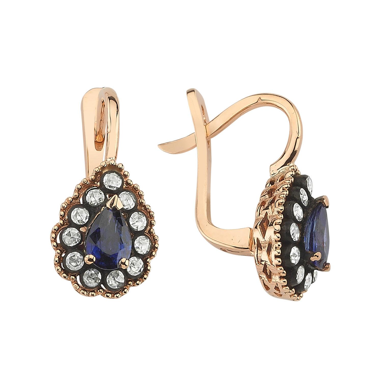 0.28 Carat Sapphire Diamond Earrings