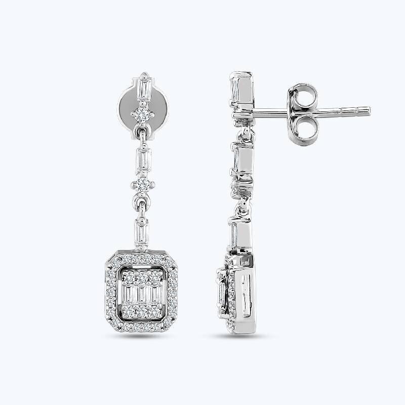 0.51 Carat Baguette Diamond Earrings