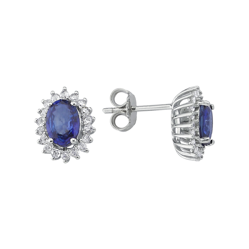0.22 Carat Sapphire Diamond Earrings