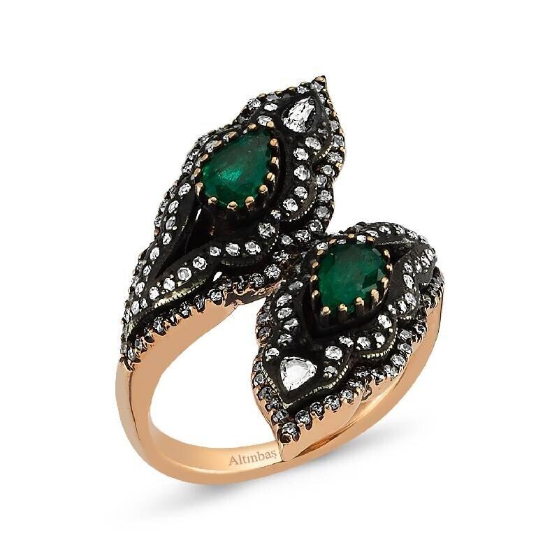 0.79 Carat Emerald Diamond Ring
