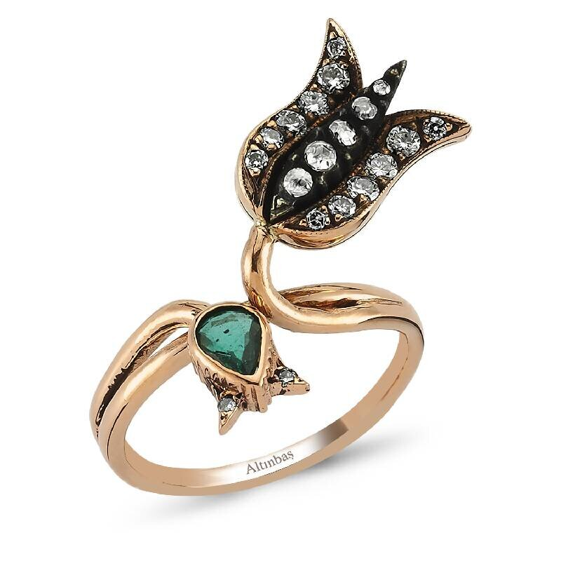 0.42 Carat Tulip Emerald Diamond Ring
