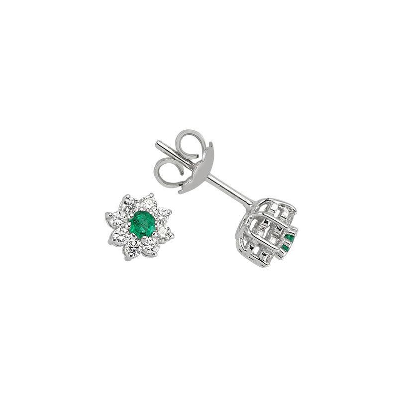 0.41 Carat Boucles d'Oreilles Diamant Émeraude