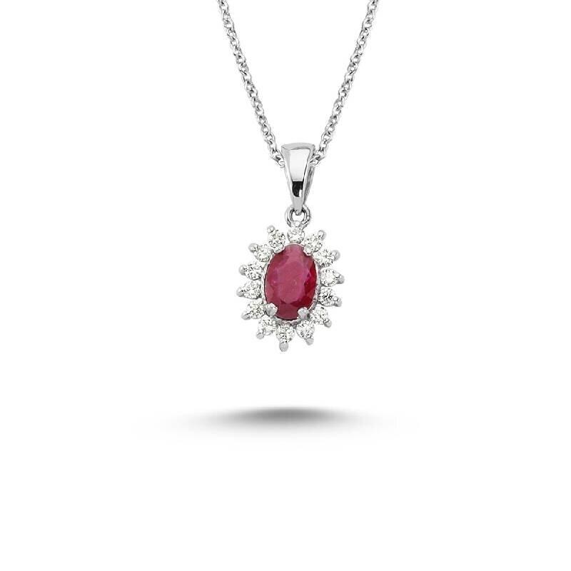 0.25 Carat Ruby Diamond Necklace