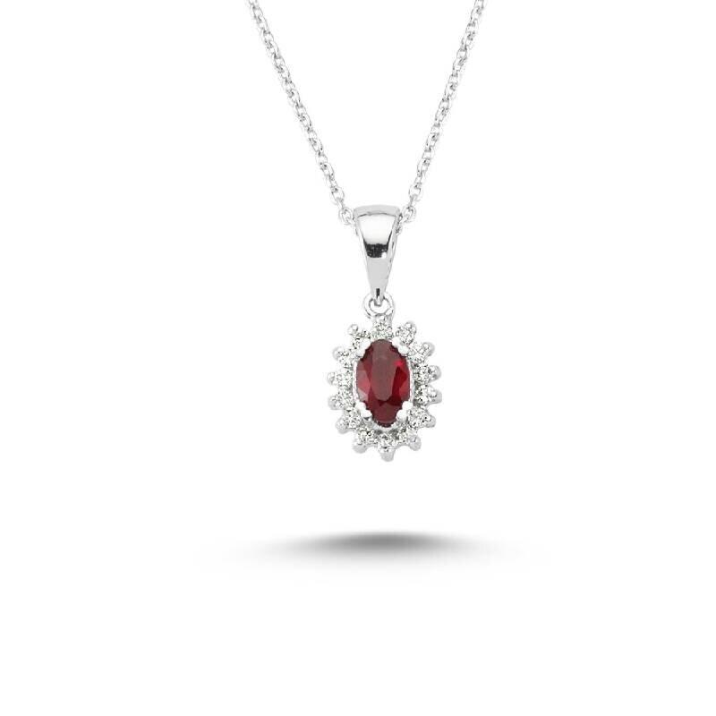 0.11 Carat Ruby Diamond Necklace