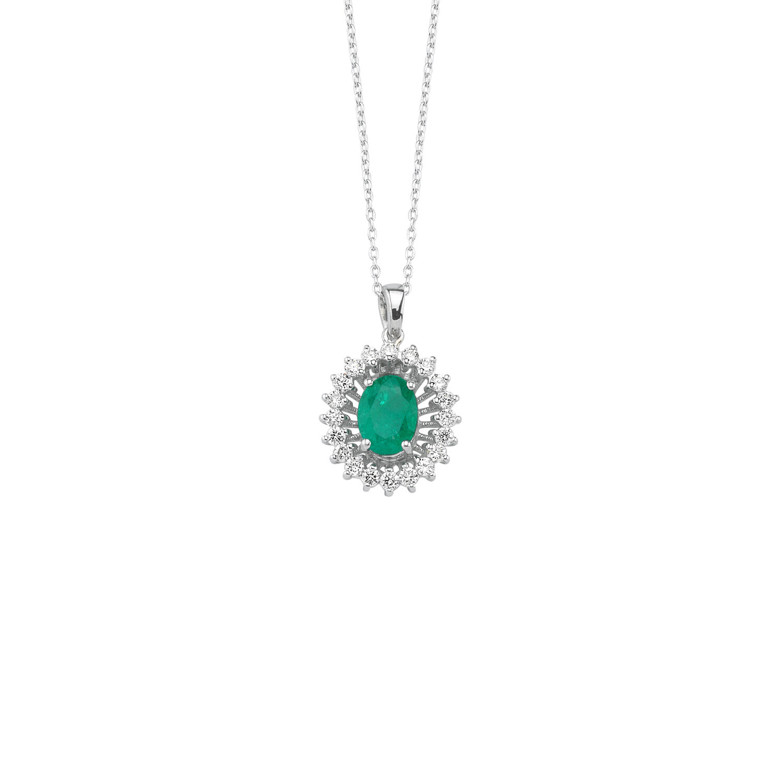 0.32 Carat Emerald Diamond Necklace