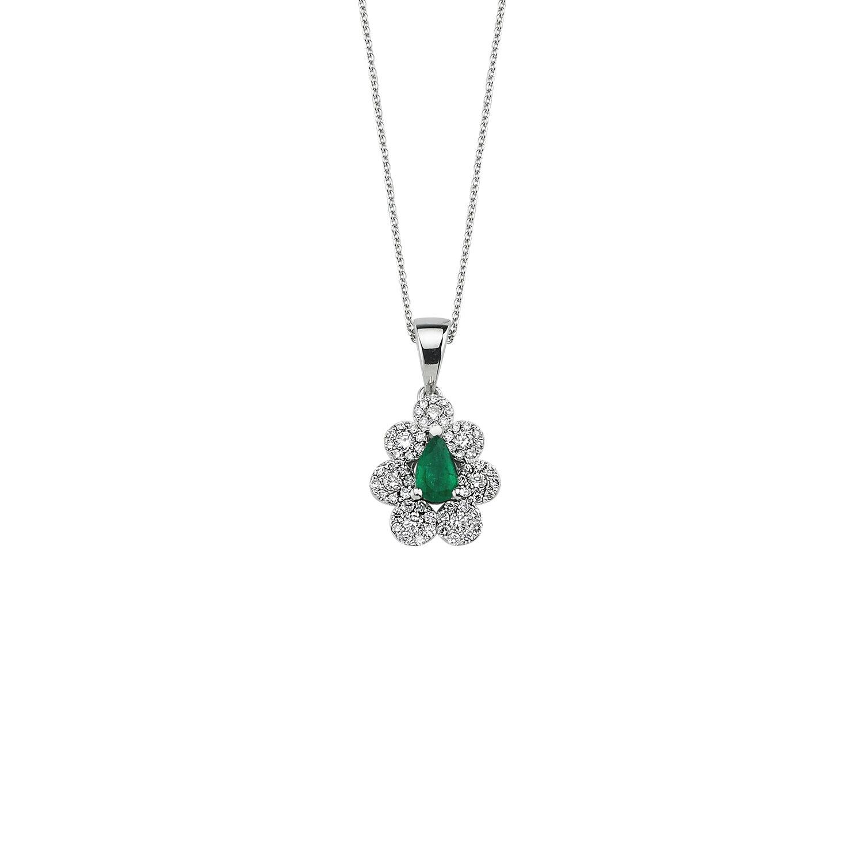 0.28 Carat Emerald Diamond Necklace
