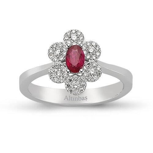 0.24 Carat Ruby Diamond Ring