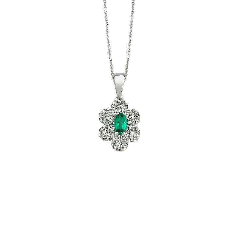 0.24 Carat Emerald Diamond Necklace