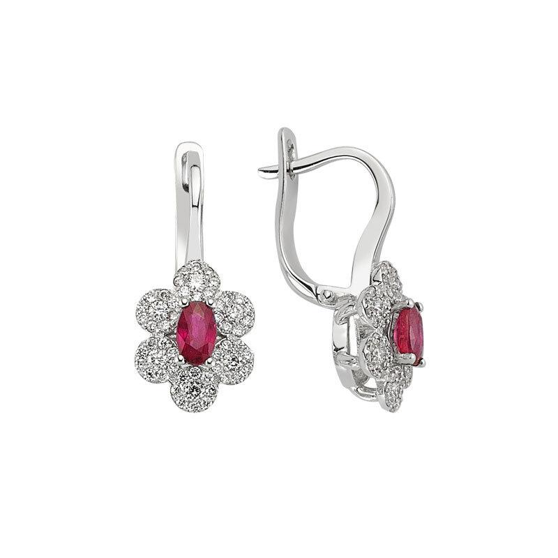 0.45 Carat Ruby Diamond Earrings